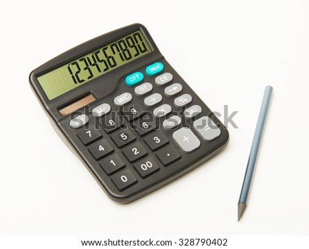 Calculator on a white background with black pencil and numbers on display - stock photo