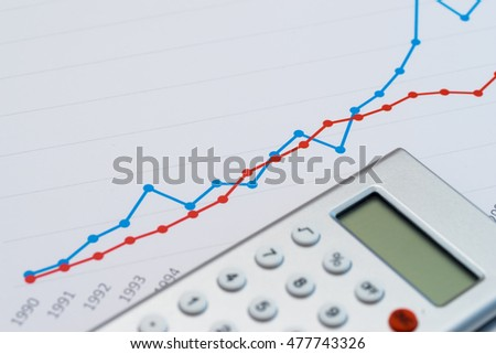 Calculator on colorful graphs and charts