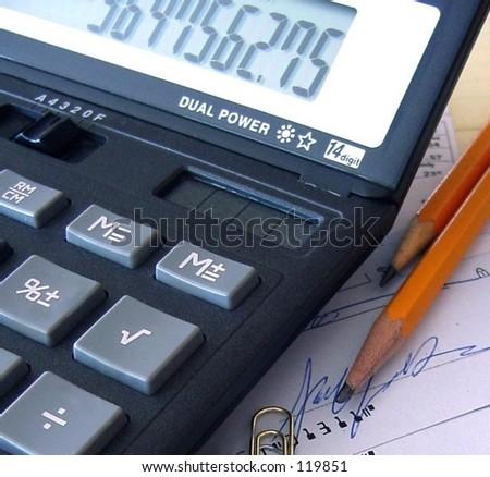 Calculator on Desk - stock photo