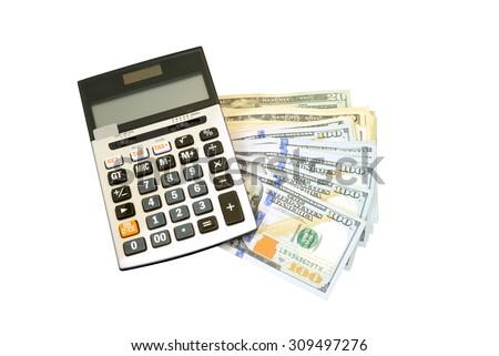 calculator on many bundle of US 100 dollars bank notes isolated on white - stock photo