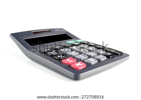 Calculator on white bacground - close-up - stock photo