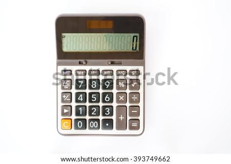 Calculator on white background, - stock photo