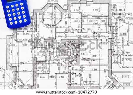 Calculator over house plan blueprints stock photo 10472770 for Blueprint estimator
