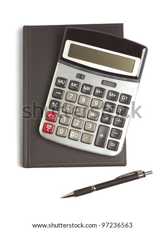 calculator, pen and diary isolated on white - stock photo