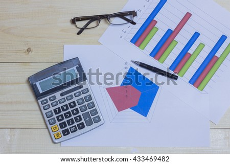 Calculator, phone,pen and glasses on financial graph, business concept.