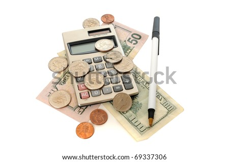 Calculator with a twenty dollar bill and a bunch of coins and a pen on a white table. This image demonstrates taxes, accountants, paychecks, business and finance. - stock photo
