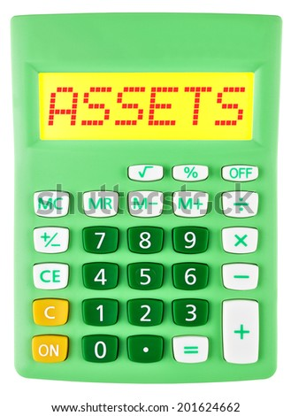 Calculator with ASSETS on display on white background - stock photo