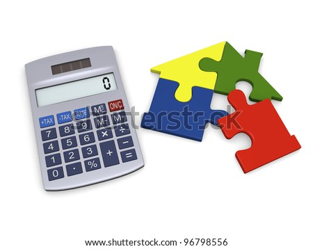 Calculator with colorful house jigsaw being completed - stock photo