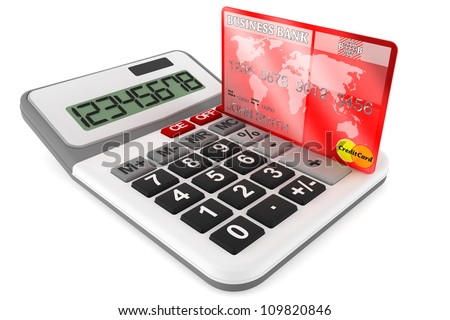 Calculator with Credit Cards on a white background