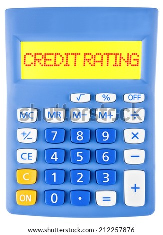 Calculator with CREDIT RATING on display isolated on white background - stock photo