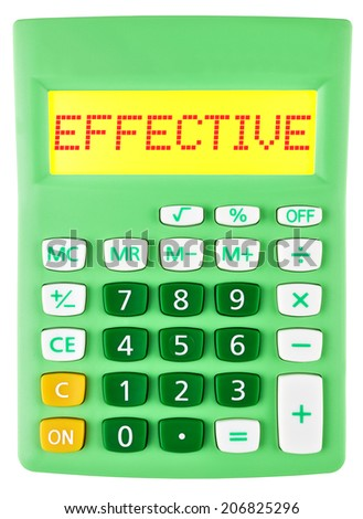 Calculator with EFFECTIVE on display isolated on white background