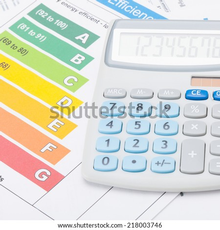 Calculator with energy efficiency chart - studio shot - 1 to 1 ratio