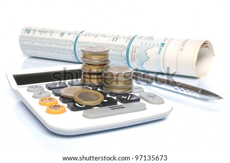 Calculator with Euro coins, ball pen and stock market report on white background - stock photo