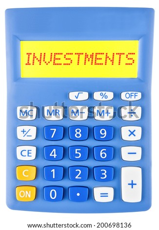 Calculator with Investments on display isolated on white background