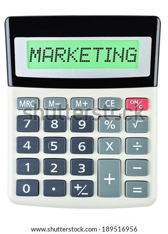 Calculator with MARKETING on display on white background - stock photo