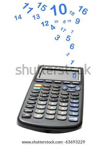 Calculator with numbers flying