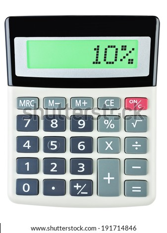 Calculator with 10% on display on white background - stock photo