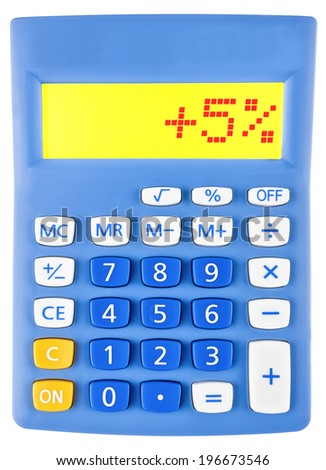 Calculator with +5% on display on white background - stock photo
