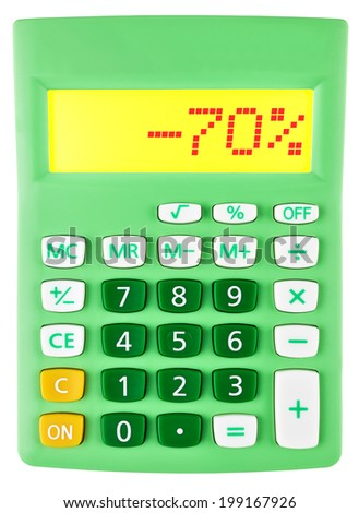 Calculator with -70% on display on white background