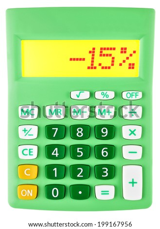 Calculator with -15% on display on white background