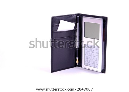 Calculator with pen on white - stock photo