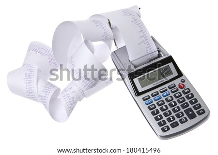 Calculator with Receipt - stock photo