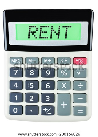 Calculator with RENT on display on white background - stock photo