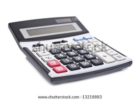 Calculator with soft shadow on white background. Shallow depth of field - stock photo