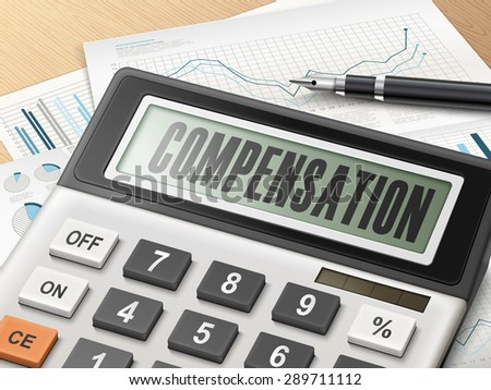 calculator with the word compensation on the display - stock photo