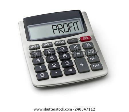 Calculator with the word profit on the display - stock photo