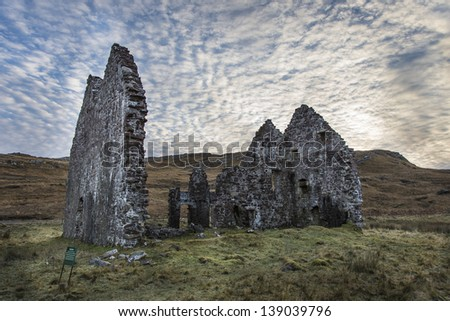 Calda House Ruins,Sutherland,Scottish Highlands - stock photo
