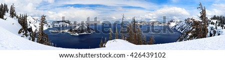 Caldera lake in Crater Lake National Park, Oregon, USA - stock photo