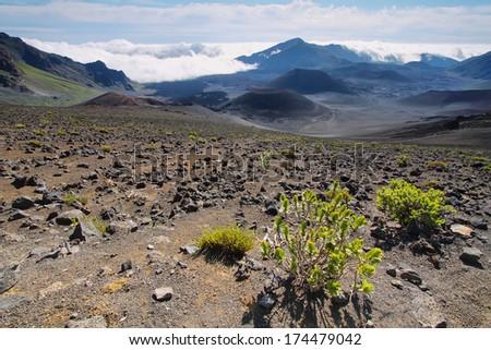 Caldera of the Haleakala volcano in Maui island, Hawaii - stock photo