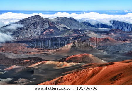 Caldera of the Haleakala volcano (Maui, Hawaii)  - HDR image - stock photo