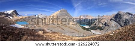 Caldron Lake Hike, Banff National Park, Alberta, Canada  Start Point is at Peyto Lake Look out, Approx 30 Miles North of Lake Louise Caldron Lake (left), Caldron Mountain (center), Peyto Lake (right) - stock photo