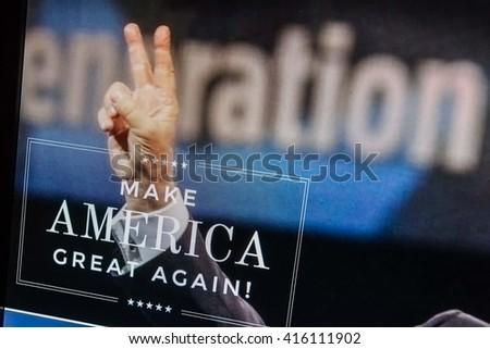 CALDWELL, IDAHO/USA - MAY 5, 2016: Donald J Trumps website located at www.donaldjtrump.com with his campaign slogan of Make American Great Again - stock photo