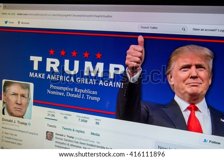 CALDWELL, IDAHO/USA - MAY 5, 2016: Twitter website for possible Republican Nominee Donald Trump - stock photo