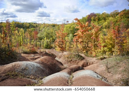 Caledon red clay hills fall cheltenham stock photo royalty free caledon red clay hills in the fall the cheltenham badlands are a bizarre geographical publicscrutiny Image collections