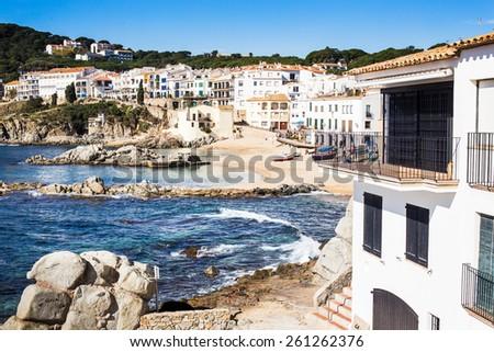 Calella de Palafrugell Beach, Costa Brava. - stock photo