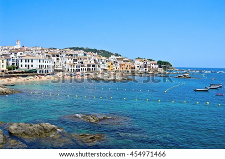 Calella de Palafrugell- popular travel and holiday destination on Costa Brava, Catalonia, Spain. - stock photo
