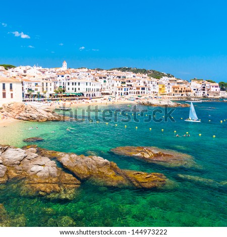 Calella de Palafrugell, traditional whitewashed fisherman village and a popular travel and holiday destination on Costa Brava, Catalonia, Spain. - stock photo