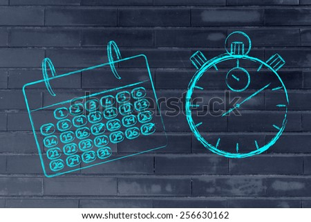 calendar and stopwatch representing the role of time management in a global business - stock photo