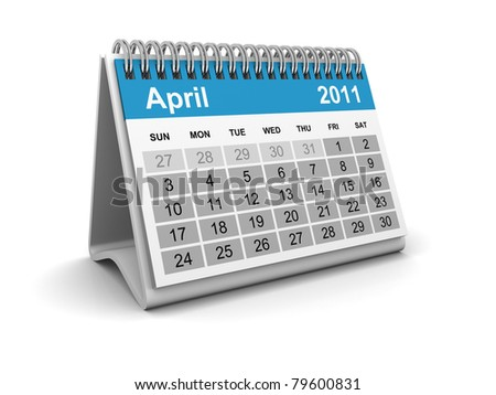 Calendar 2011 - April - stock photo
