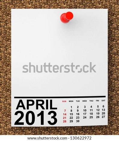 Calendar April 2013 on blank note paper with free space for your text - stock photo