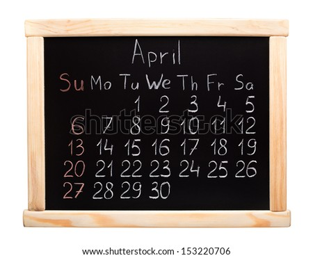 Calendar 2014. April. Written on a blackboard