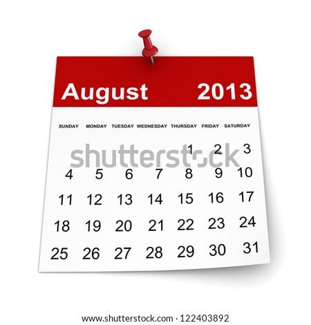 Calendar 2013 - August - stock photo