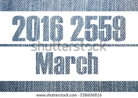 Calendar background jeans 2016 2559, 12 Month and Happy New Year - stock photo