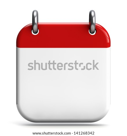 Calendar blank 3D icon isolated on white. - stock photo