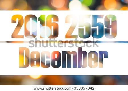 Calendar 2016 2559 bokeh - stock photo