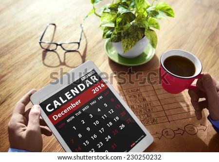 Calendar Contemporary Digital Device Concepts - stock photo